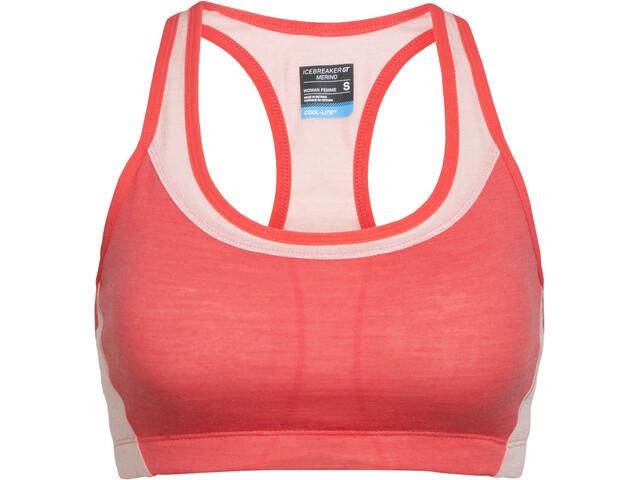 Icebreaker Meld Zone Sport Bra Women poppy red/sorbet